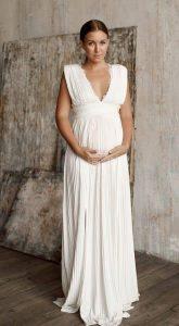 Плиссированное платье для беременных Tiara Dress White