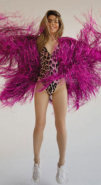 Виниловая шуба цвета фуксия Vinyl Fuchsia Coat