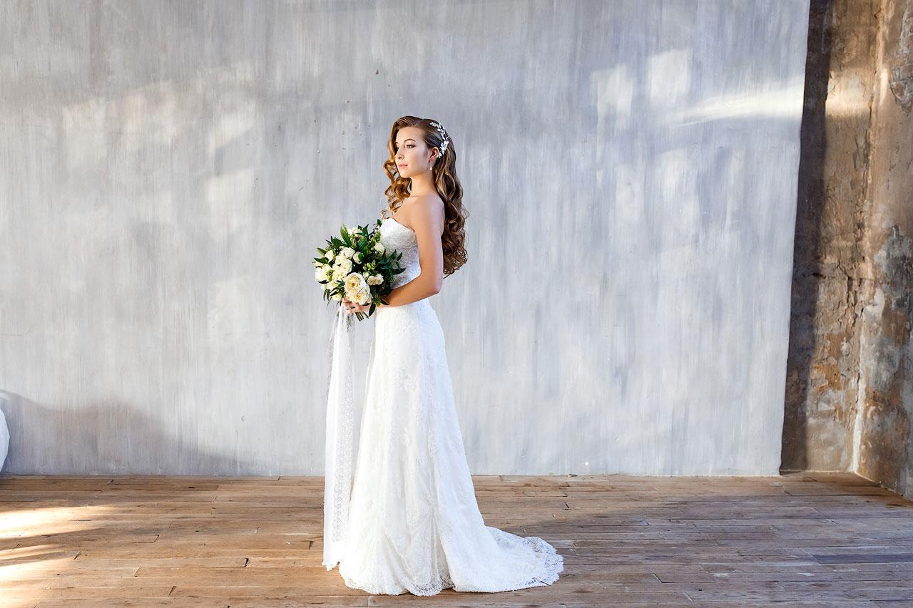 Съемки невесты в платье А-силуэта