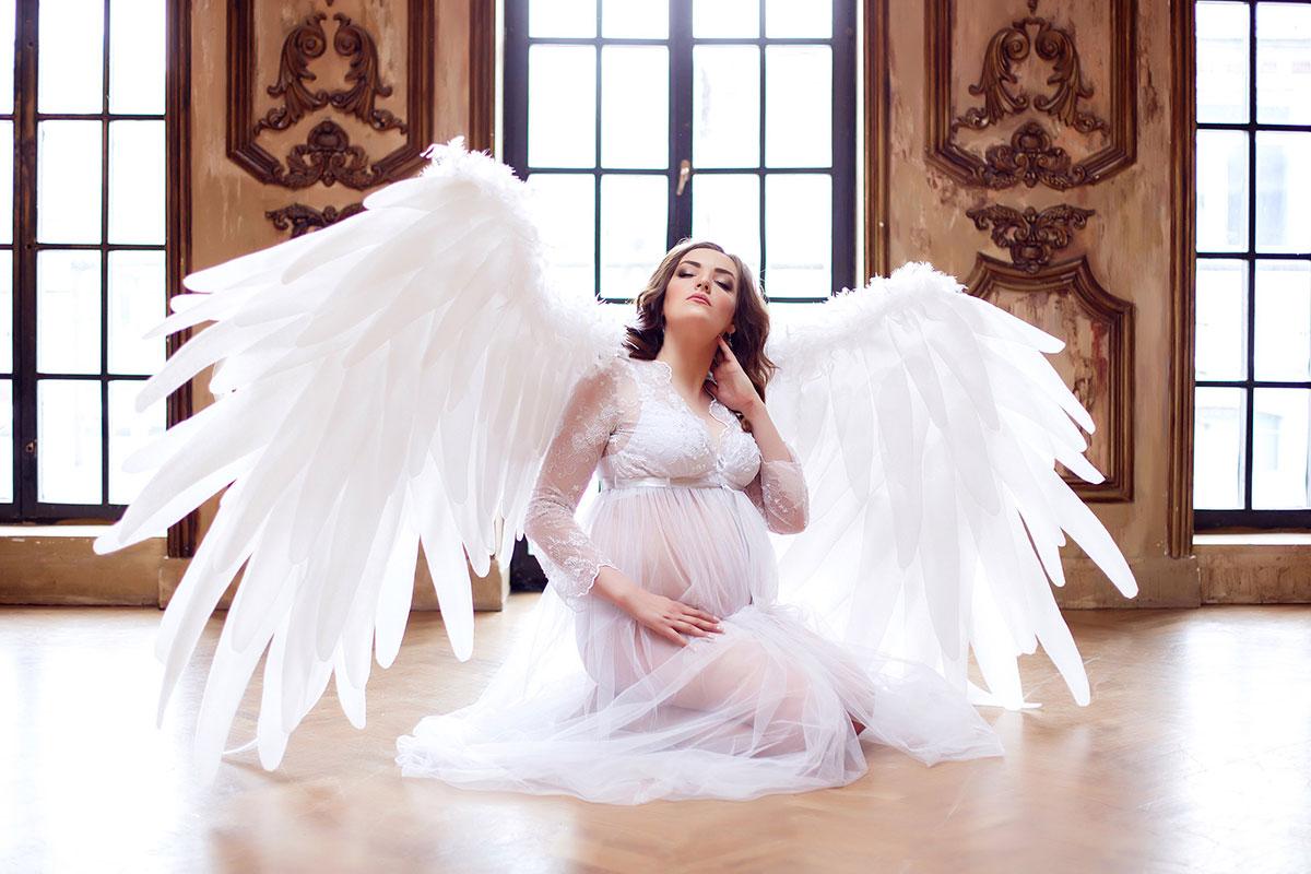 Роскошные крылья ангела для фотосессии беременной