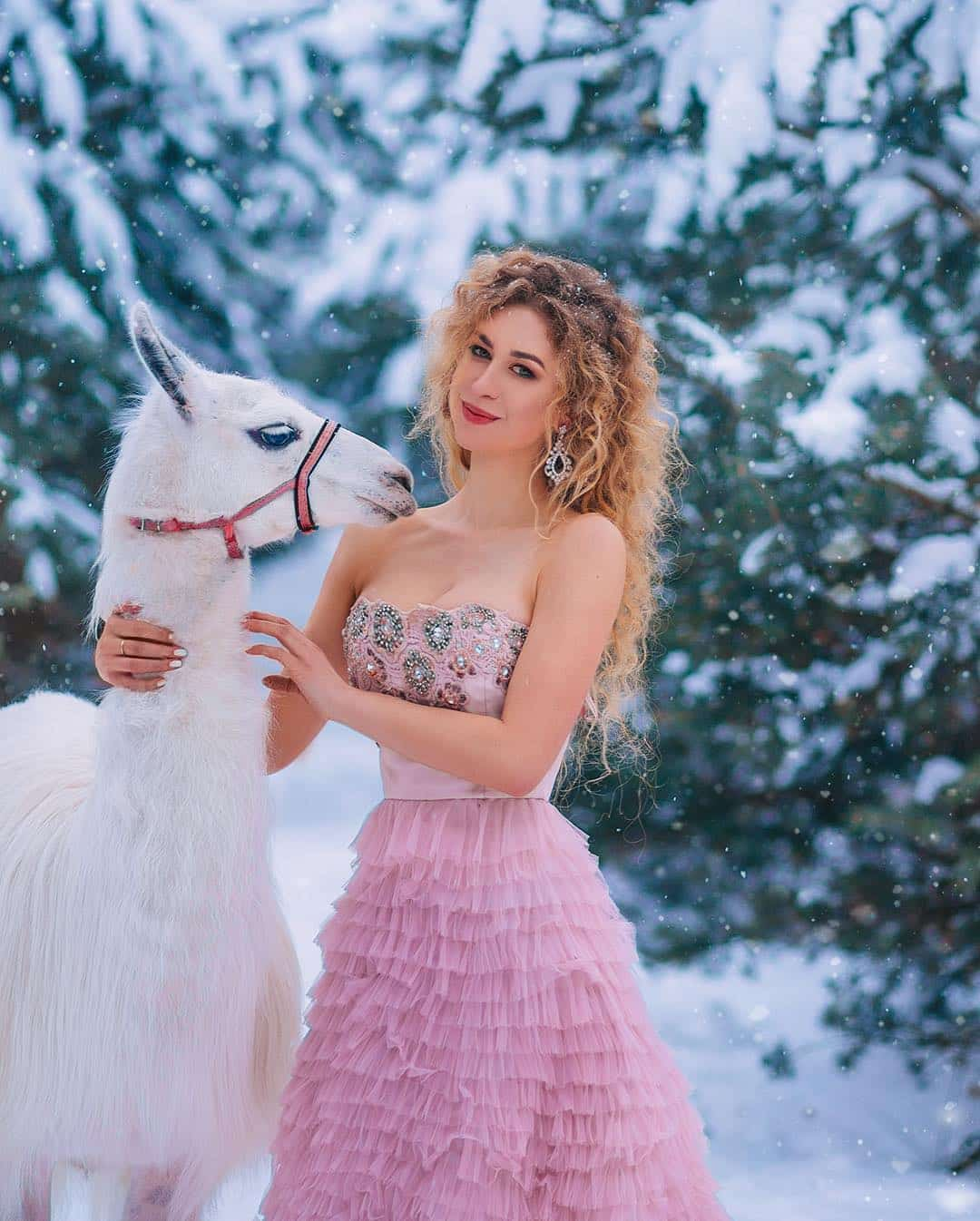 Зимняя фотосессия с ламой